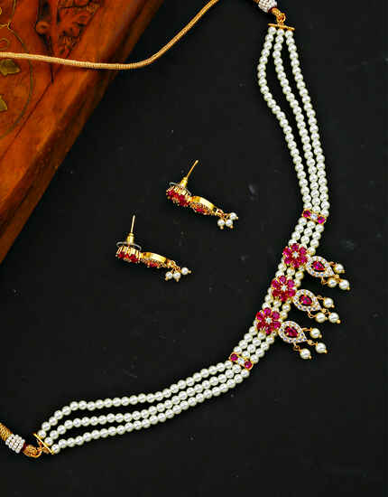 Exclusive Pink Colour Traditional Tikda Necklace Set for Women/Girls