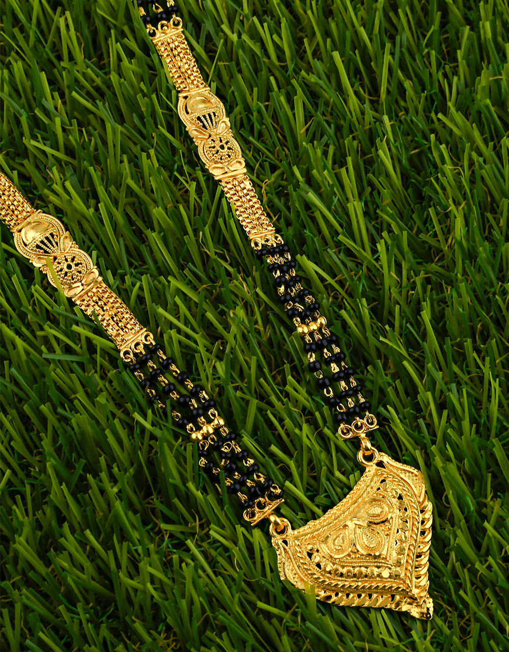 Gold Plated Designer Chain Pattern Long Mangalsutra for Women