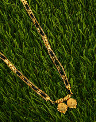 Fancy Gold Finished Maharashtrian Style Wati Mangalsutra for Women