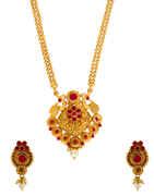 Red Colour South Matte Finish Red Colour Pendnat Set Necklace Jewellery