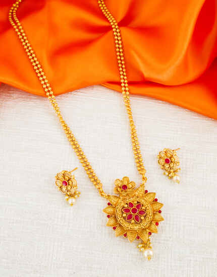 Red Colour Floral Design Traditional South Matte Finish Fancy Pendant Set