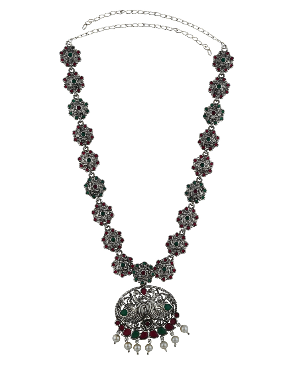 Adorable Silver Finish Multi-Colour Stone Studded Oxidised Long Necklace