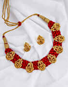 Temple Design Golden Finish Red Colour Traditional Necklace