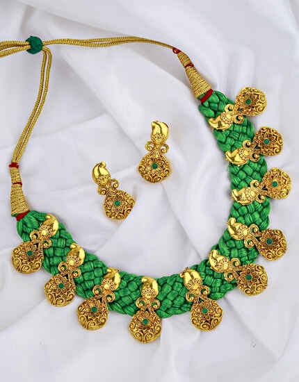 Fancy Green Colour Golden Finish Traditional Necklace for Women