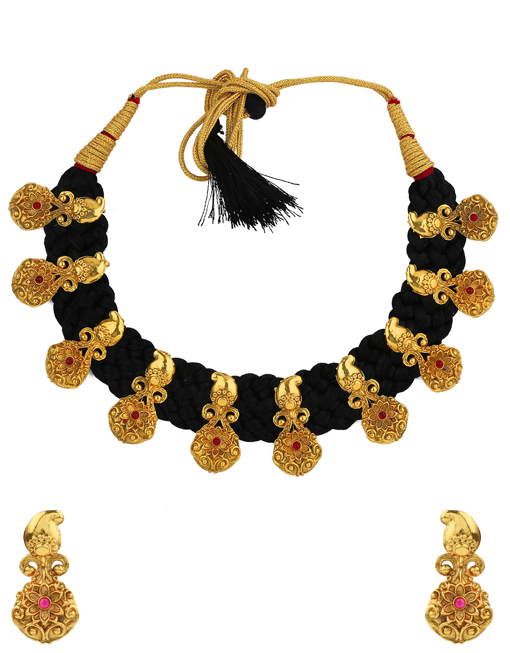 Exclusive Black Colour Golden Finish Traditional Necklace for Women