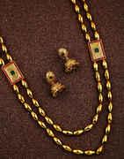 Latest Golden Finish Multi-Colour Maharashtrian Long Necklace