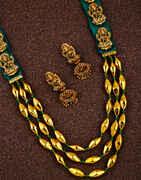 Fashionable Temple Design Golden Finish Maharashtrian Long Necklace for Women