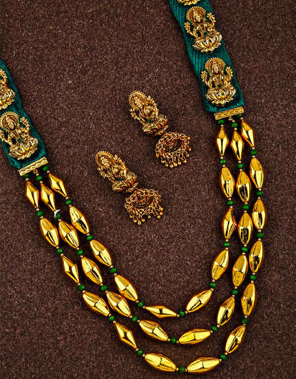 Fashionable Temple Design Golden Finish Maharashtrian Long Necklace for Women