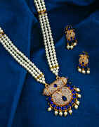 Classy Blue Colour Golden Finish Rani Haar for Women