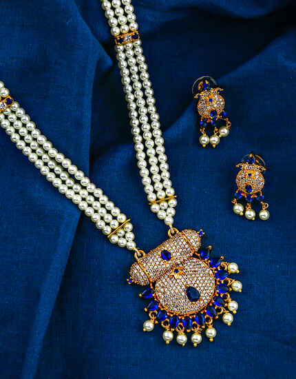 Classy Blue Colour Golden Finish Rani Haar for Women