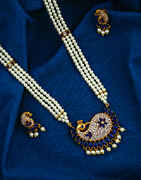 Peacock Inspired Blue Colour Golden Finish Pearl Jewellery Rani Haar