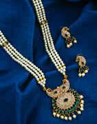 Green Colour Peacock Inspired Golden Finish Rani Haar for Women.