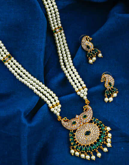 Green Colour Peacock Inspired Golden Finish Rani Haar for Women.