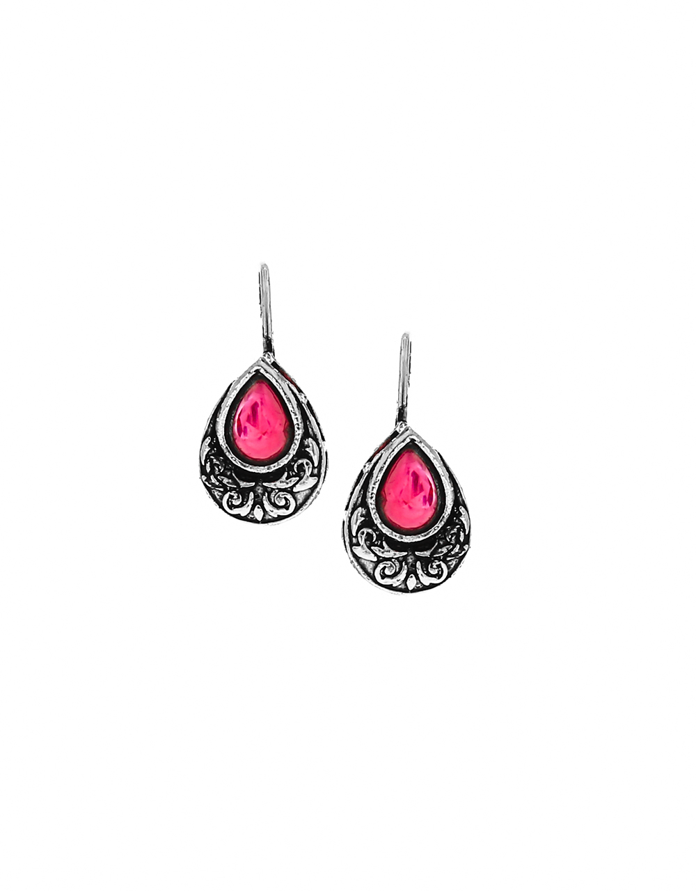 Simple and Delicate Silver Finish Oxidized Bugadi Earrings