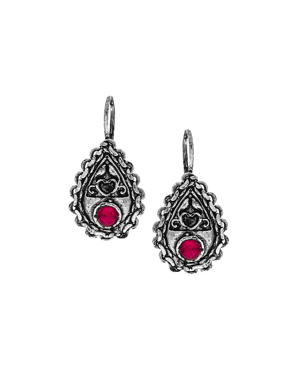 Adorable Pink Colour Silver Oxidized Bugadi Earrings for Women.