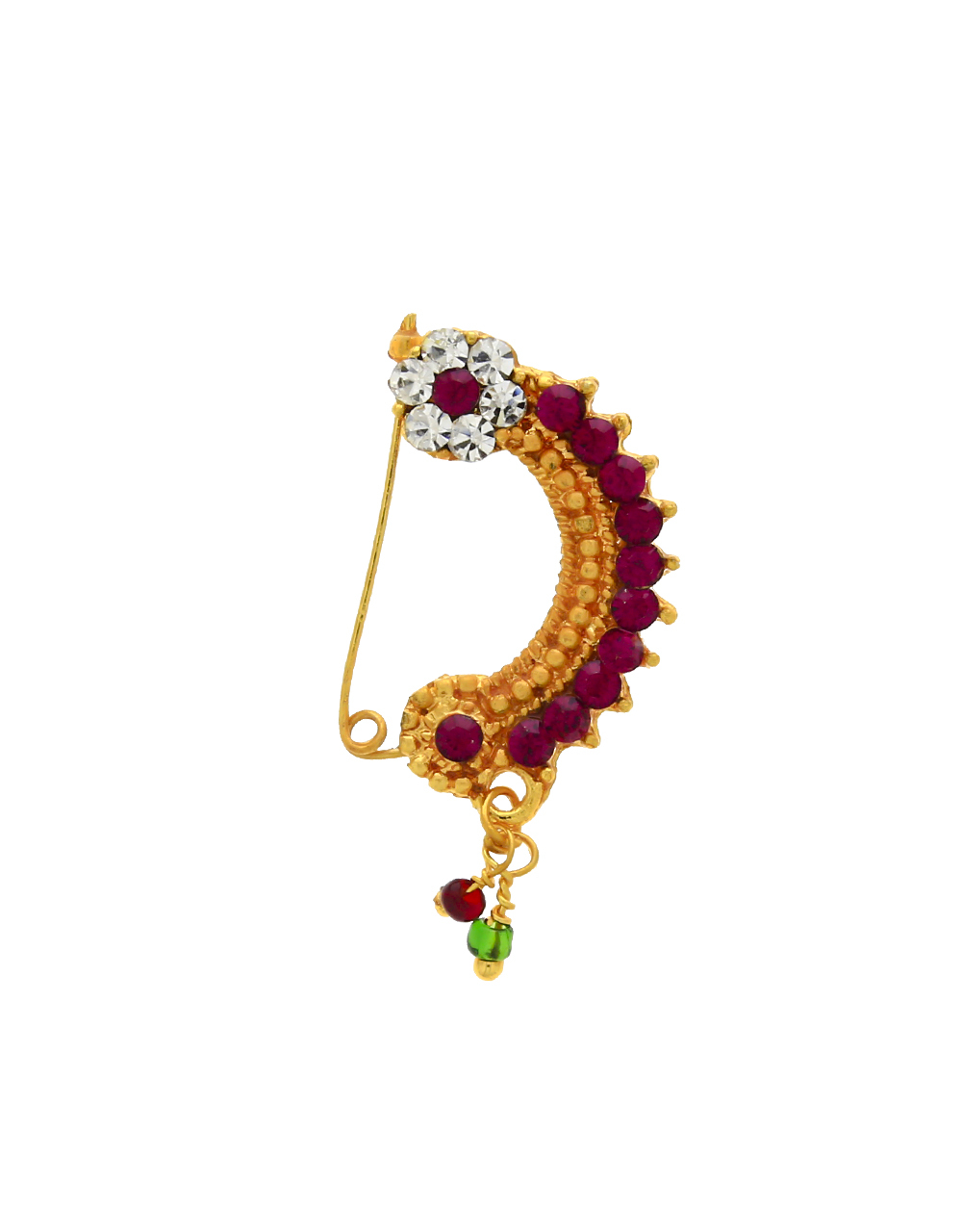 Exclusive Pink Colour Golden Finish Nath for Women