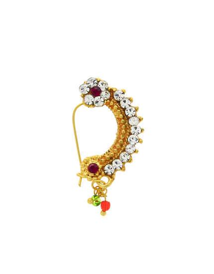 Gazing Golden Finish Stone Studded Maharashtrian Nath