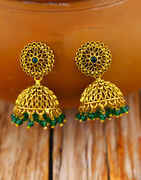 Green Colour Fancy Jhumka Earrings with Crystal Droplets for Women