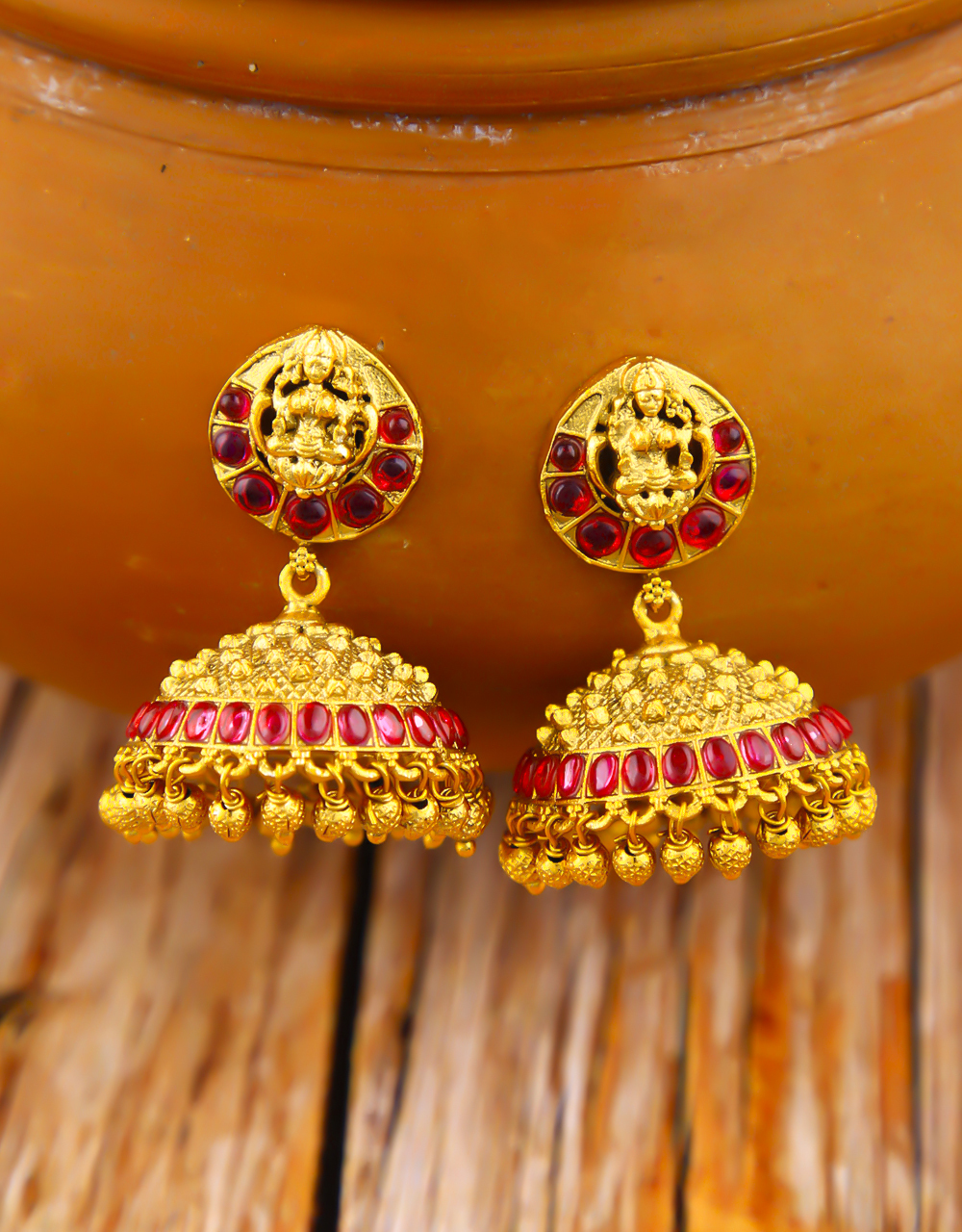 Temple Design Pink Colour Matte Gold Finished Earrings for Women