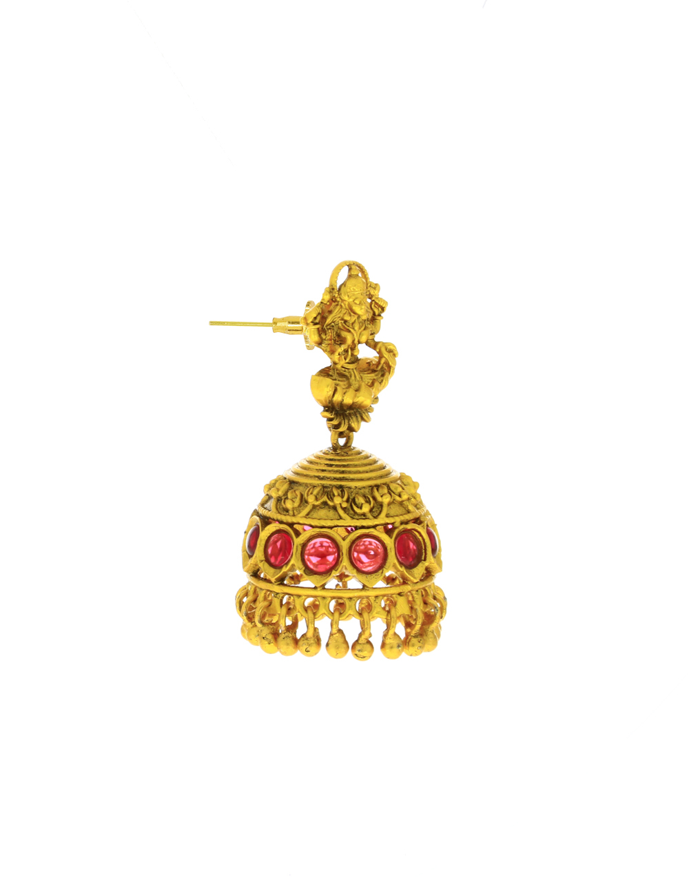 Pink Colour Temple Design Adorable Jhumka Earrings for Women