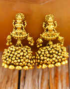 Matte Gold Finished Temple Design Adorable Jhumka Earrings for Women