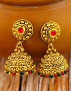 Gold Finished Ruby Stone Studded Jhumka Earrings for Women
