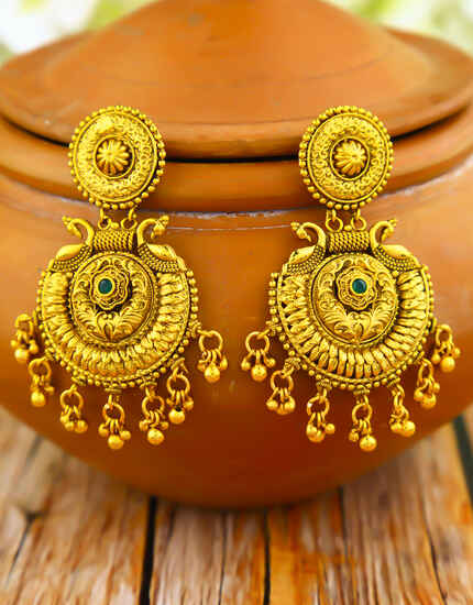 Temple Design Gold Plated Adorable Chandbali Earrings for Women