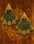 Green Beaded Adorable Temple Design Chandbali Pattern Earrings for Women