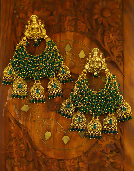 Green Beaded Adorable Temple Design Chandbali Pattern Earrings for Women