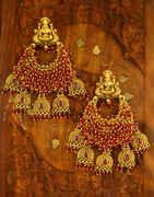 Pink Colour Temple Design Adorable Chandbali Pattern Earrings for Women