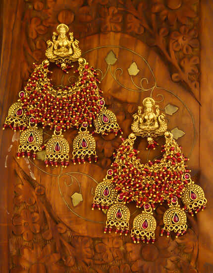 Pink Colour Temple Design Adorable Chandbali Pattern Earrings for Women