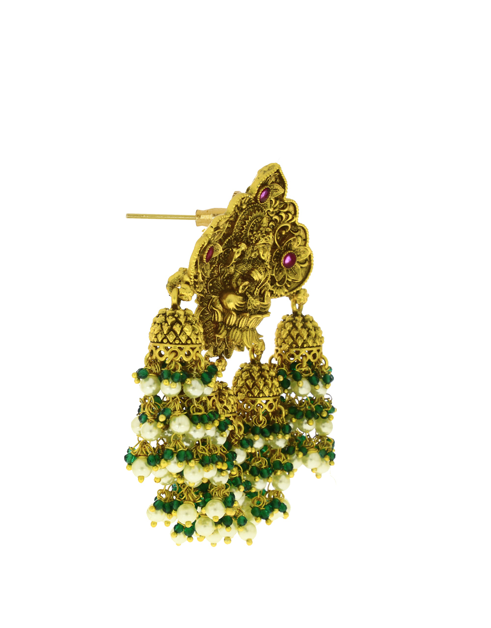 Temple Design Fancy Gold Plated Jhumka Earrings for Women