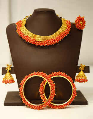 Red Colour Traditional Fancy Combo Jewellery Set for Women