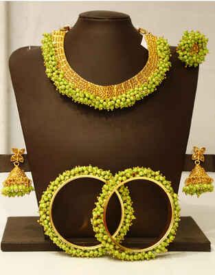 Fancy Green Pastel Colour Jewellery Combo Set for Women
