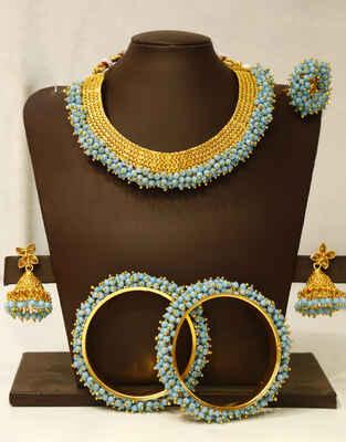 Sky Blue Colour Beautiful Combo Jewellery Set for Women