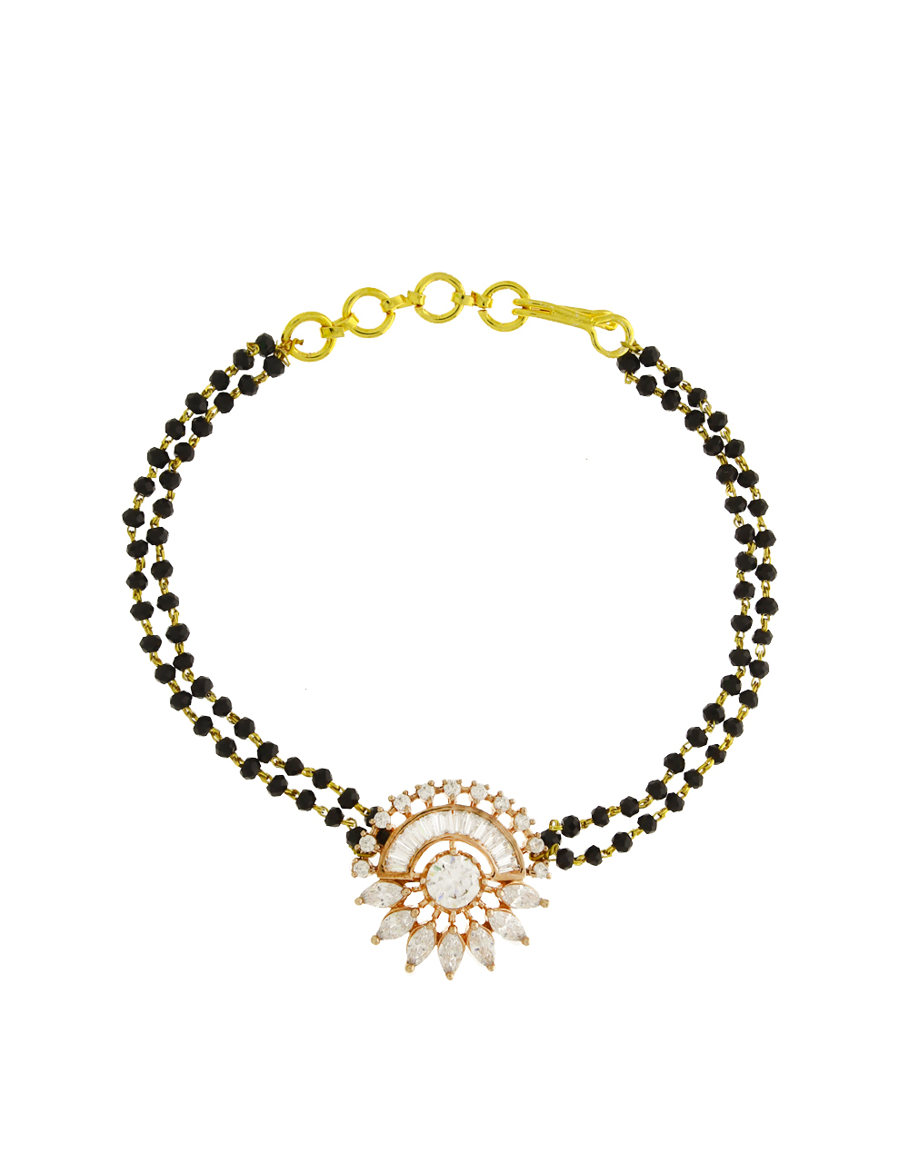 Rose Gold Finished American Diamond Studded Fancy Hand Mangalsutra for Women