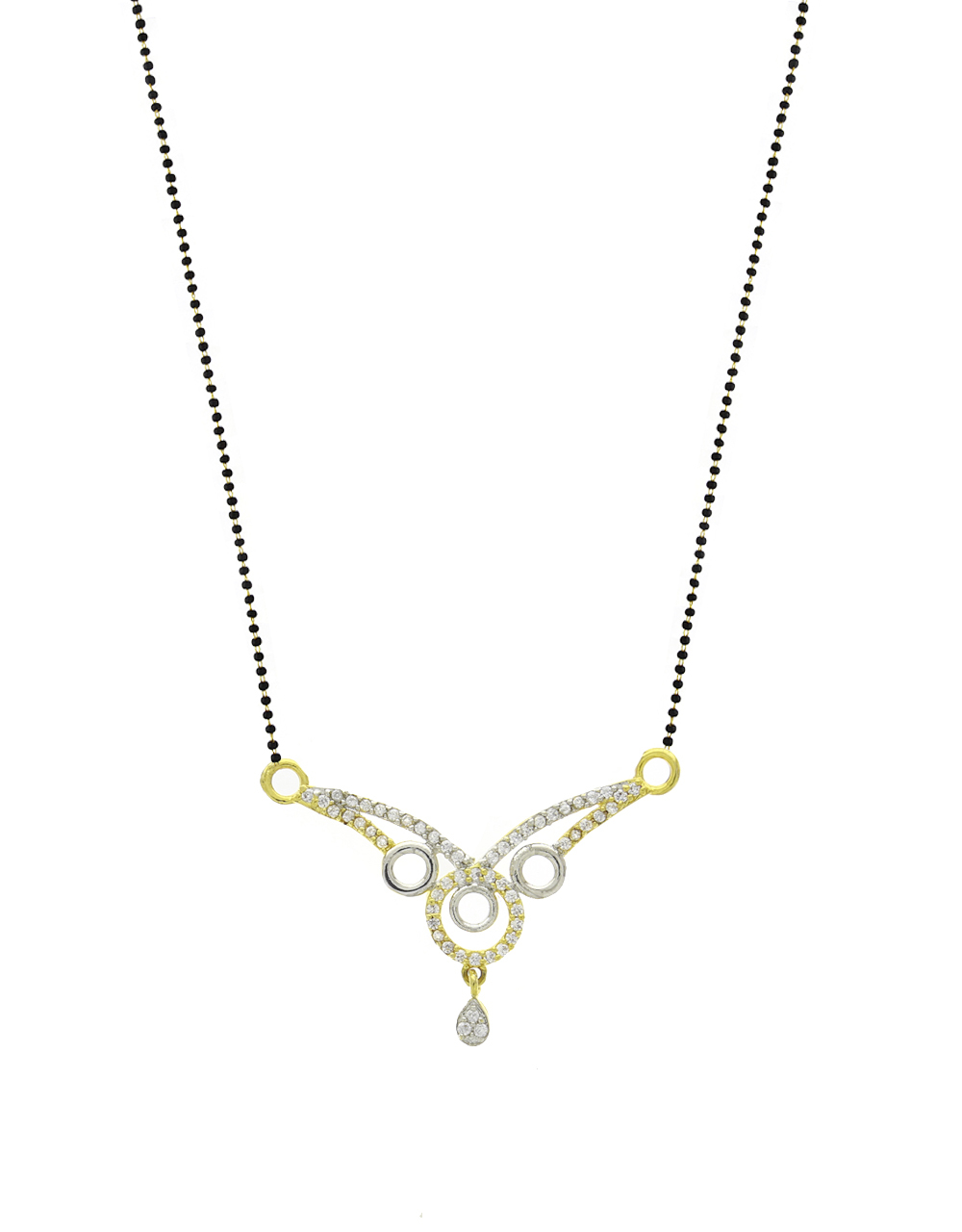 Two-Tone Fancy American Diamond Studded Short Mangalsutra for Women