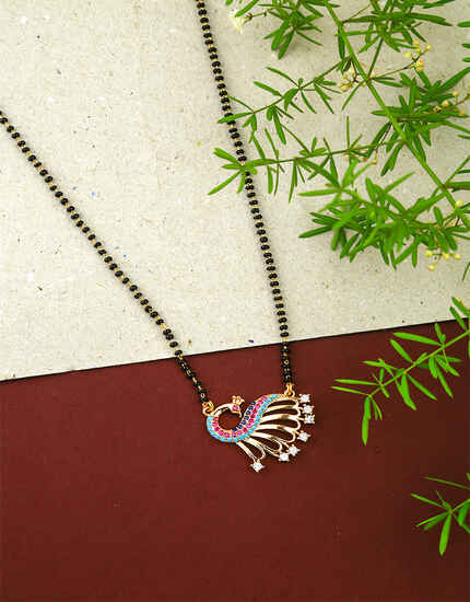 Peacock Inspired Multi Colour Fancy Short Mangalsutra for Women