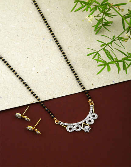 American Diamond Studded Fancy Short Mangalsutra for Women