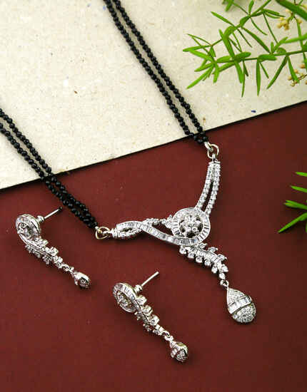 Silver Finish Adorable Long Mangalsutra Set for Women