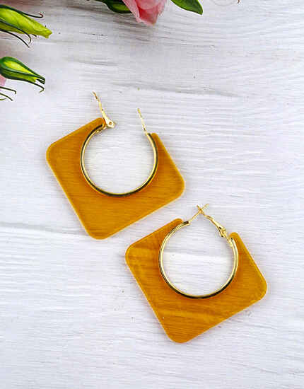 Yellow Colour Geometric Shape Beautiful Pair of Hoop Earrings for Girls