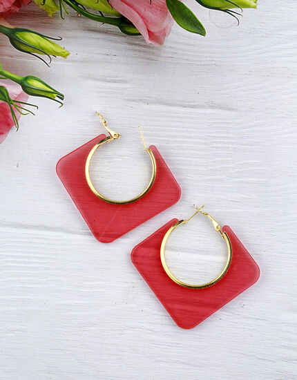 Pink Colour Geometric Shape Stylish Pair of Western Hoop Earrings