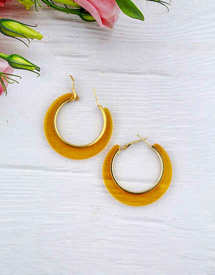 Stylish Pair of Yellow Colour Hoop Earrings for Girls