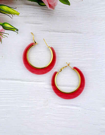 Pink Colour Round Hoop Earrings for Girls