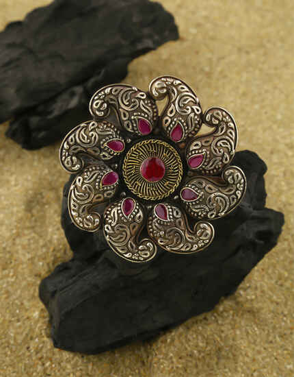 Pink Colour Adorable Oxidised Finger Ring for Women