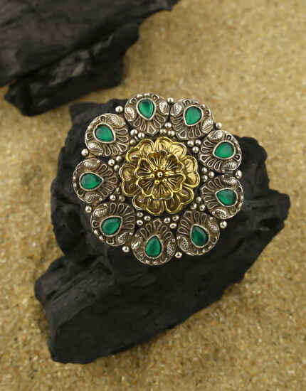Green Colour Floral Design Adorable Oxidised Finger Ring for Women