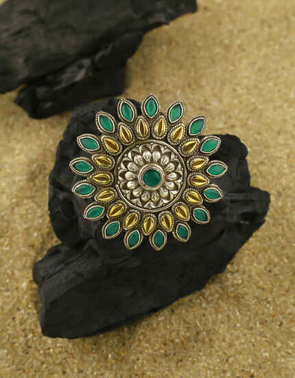 Designer Oxidised Antique Finish Green Stone Studded Finger Ring for Women