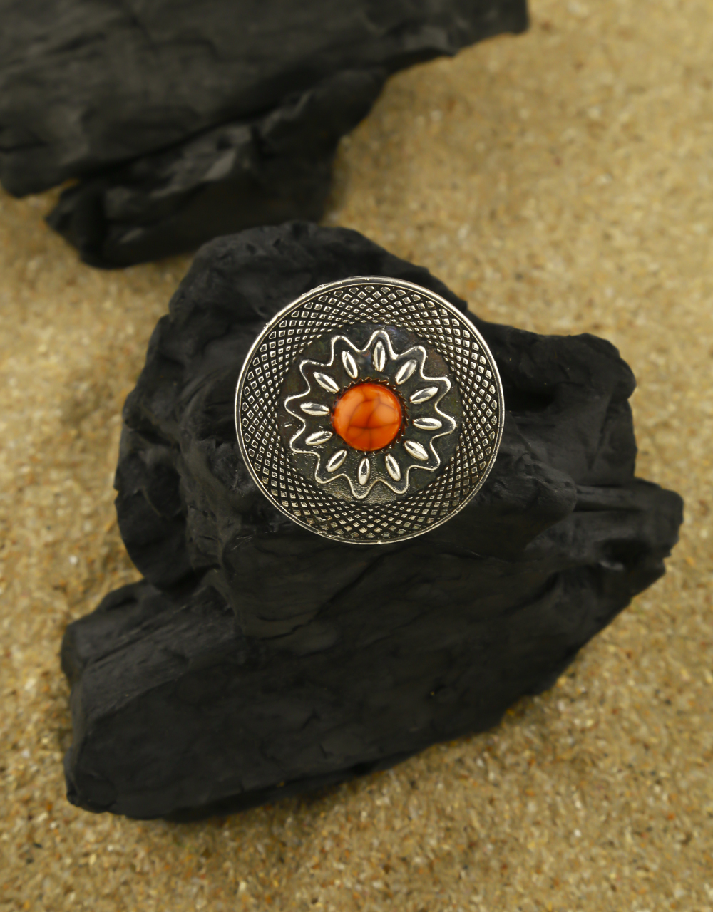 Adorable Silver Oxidised Finished Orange Stone Studded Finger Ring for Women