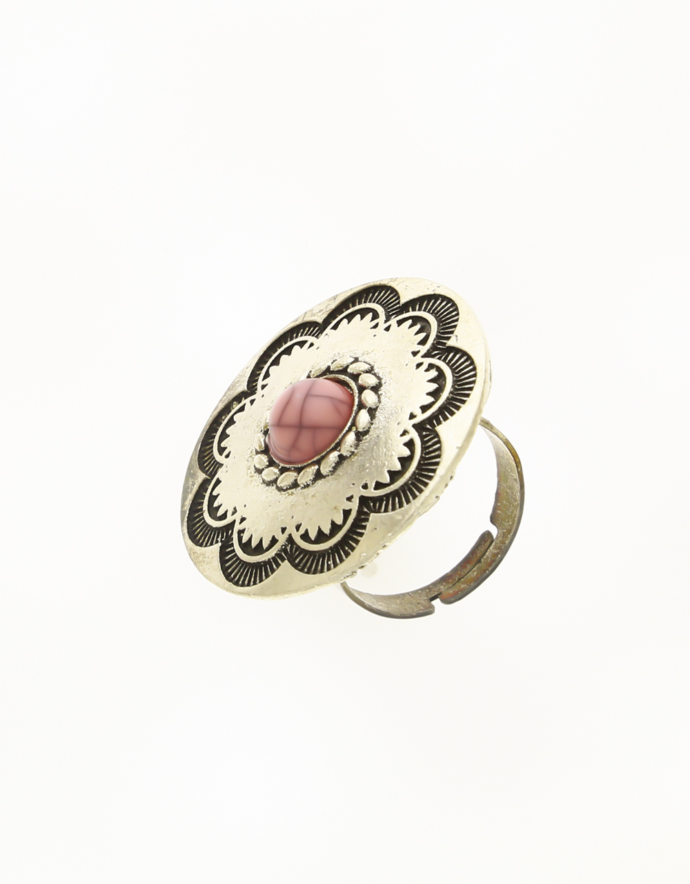 Silver Oxidised Finger Ring Styled with Pink Stone for Women