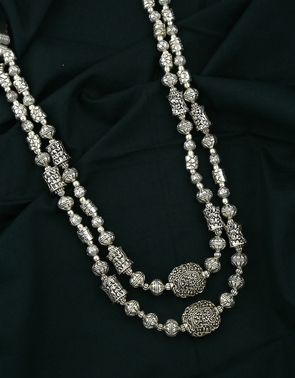 Double Layer Silver Oxidised Finished Adorable Long Necklace for Women